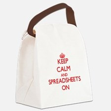 Keep Calm and Spreadsheets ON Canvas Lunch Bag
