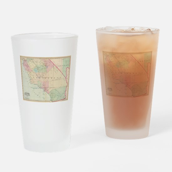 Vintage Map of Southern California Drinking Glass