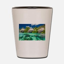 Tropical Water And Bungalow Shot Glass