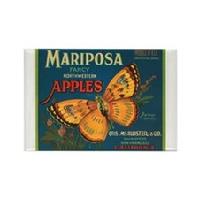 Mariposa Apples Crate Label Rectangle Magnet