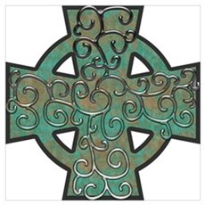 Copper Patina Celtic Cross and Vines Poster