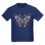 Retro Mod Butterfly Style B6 Kids Dark T-Shirt