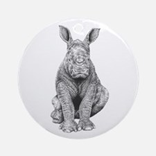 White Rhino Calf Ornament (Round)