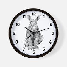 White Rhino Calf Wall Clock