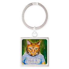 Geek Kitty Square Keychain