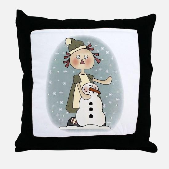 Annie's First Snowfall Throw Pillow