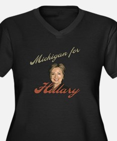 Michigan for Women's Plus Size V-Neck Dark T-Shirt