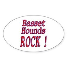 Basset Hounds Oval Stickers