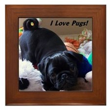 I Love Pugs Framed Tile