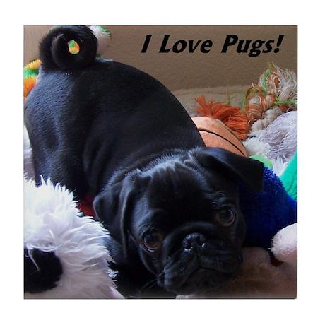 I Love Pugs Tile Coaster
