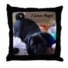 I Love Pugs Throw Pillow