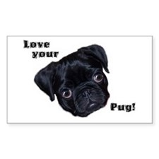 Love your Pug! - 23 Pugs Rectangle Decal