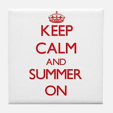 Keep Calm and Summer ON Tile Coaster