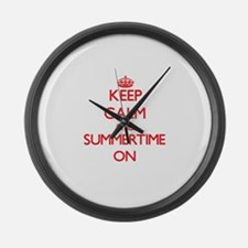 Keep Calm and Summertime ON Large Wall Clock