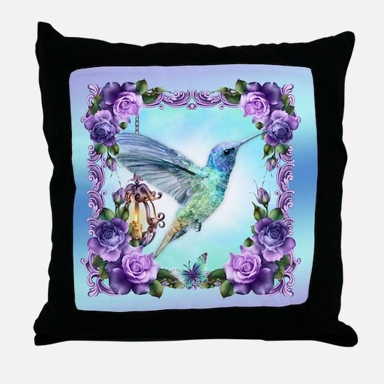 Watercolor Humming Bird, Rose, Throw Pillow