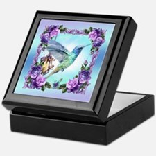 Watercolor Hummingbird, Rose, Keepsake Box