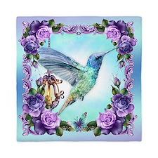 Watercolor Hummingbird And Roses Queen Duvet