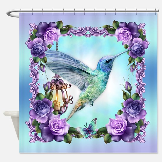 Watercolor Hummingbird And Roses Shower Curtain