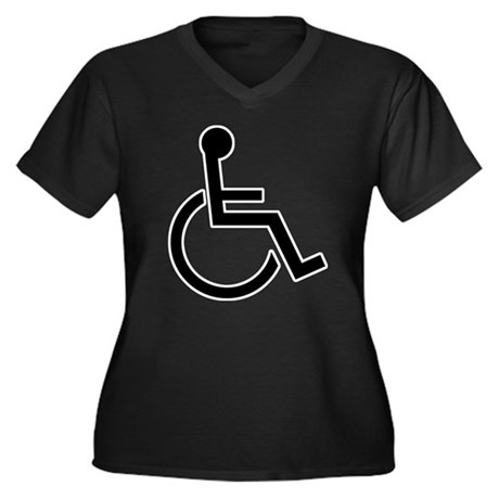 Wheel Chair Women's Plus Size V-Neck Dark T-Shirt
