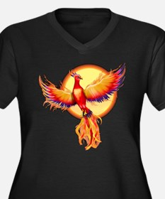 Phoenix Firebird Women's Plus Size V-Neck Dark T-S