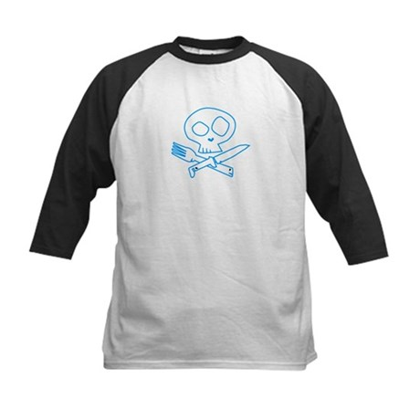 Blue Foodie Skull Kids Baseball Jersey