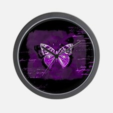 Purple and black butterfly grunge Wall Clock