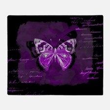 Purple and black butterfly grunge Throw Blanket