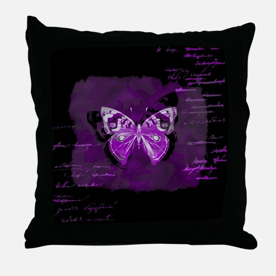 Purple and black butterfly grunge Throw Pillow