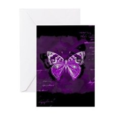 Purple and black butterfly grunge Greeting Cards