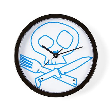 Blue Foodie Skull Wall Clock