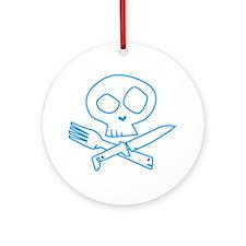 Blue Foodie Skull Ornament (Round)