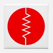 Circled Resistor Symbol - Red Tile Coaster
