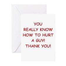 hurt me Greeting Cards