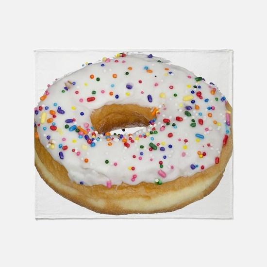 white rainbow sprinkles donut photo Throw Blanket