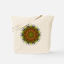 Yellow Fractal Wildflower Sunburst Tote Bag