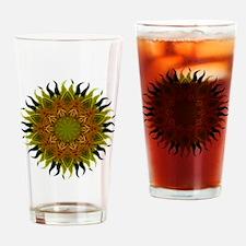 Yellow Fractal Wildflower Sunburst Drinking Glass