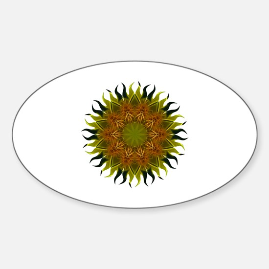 Yellow Fractal Wildflower Sunburst Sticker (Oval)
