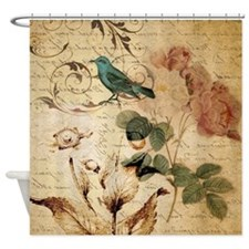 vintage rose bird paris french bota Shower Curtain