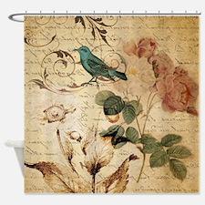 vintage rose bird paris french bota Shower Curtain
