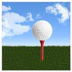 Golf Ball on Tee with Sky and Grass Poster