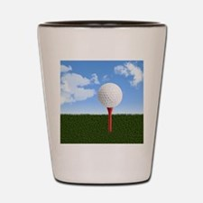 Golf Ball on Tee with Sky and Grass Shot Glass