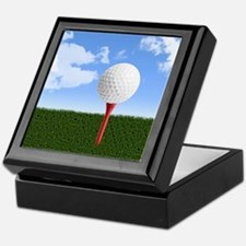 Golf Ball on Tee with Sky and Grass Keepsake Box