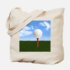 Golf Ball on Tee with Sky and Grass Tote Bag