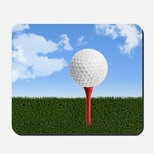 Golf Ball on Tee with Sky and Grass Mousepad