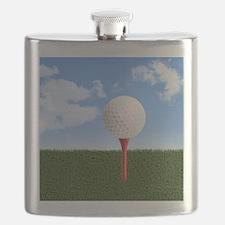 Golf Ball on Tee with Sky and Grass Flask