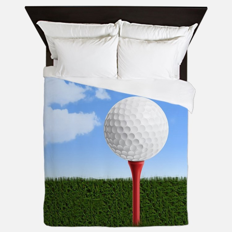 Golf Ball on Tee with Sky and Grass Queen Duvet