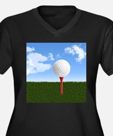 Golf Ball on Tee with Sky and Gr Plus Size T-Shirt