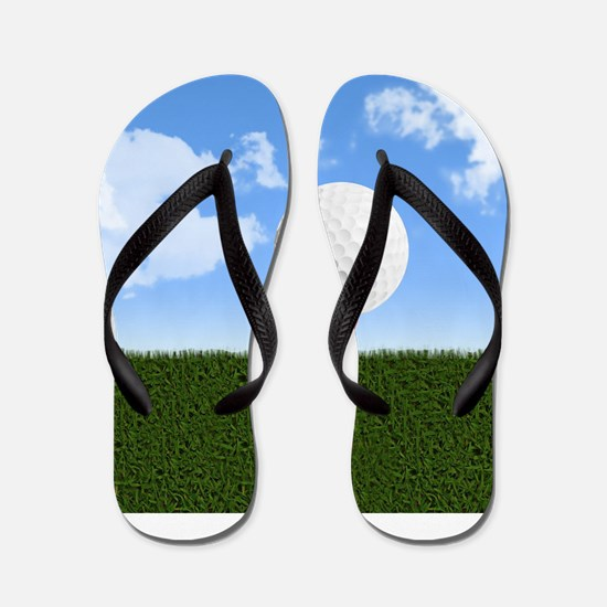 Golf Ball on Tee with Sky and Grass Flip Flops