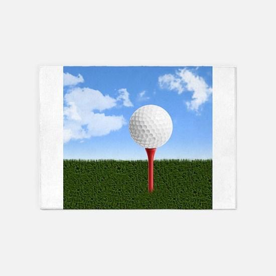 Golf Ball on Tee with Sky and Grass 5'x7'Area Rug