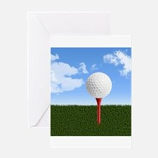 Golf Ball on Tee with Sky and Grass Greeting Cards